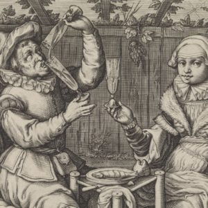 Couple Drinking in a Tavern Garden, Jacob Matham, 1619 - 1623